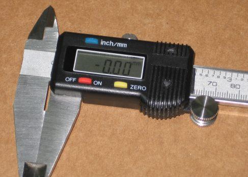 Caliper showing negative zero