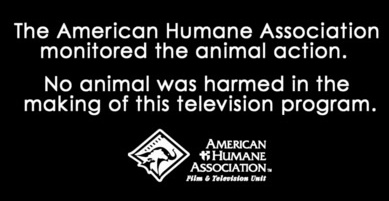 end credits message about how no animals were harmed, this time with a name of a group that can verify it